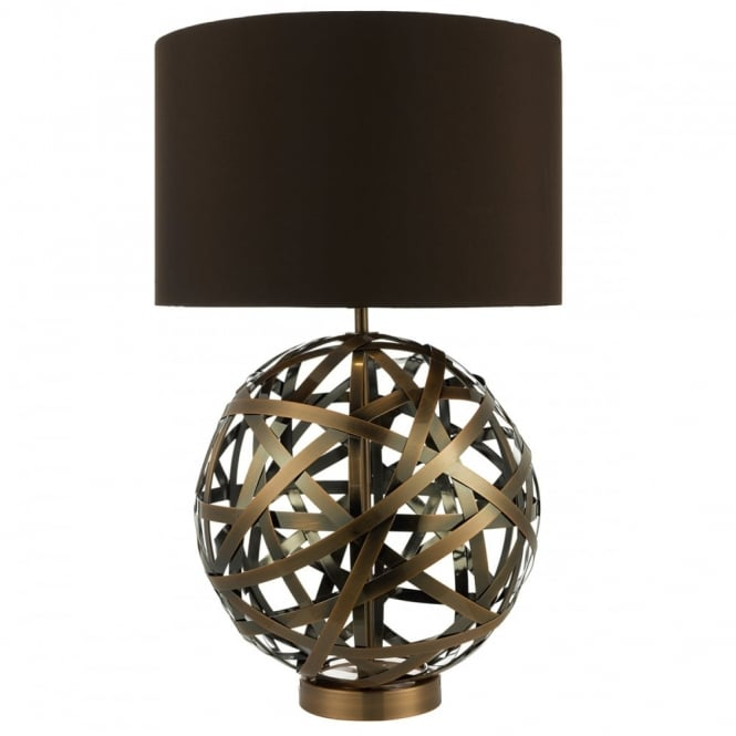 The Lighting Book VOYAGE antique copper woven globe table lamp with faux silk brown shade