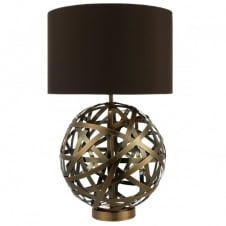 VOYAGE antique copper woven globe table lamp with faux silk brown shade