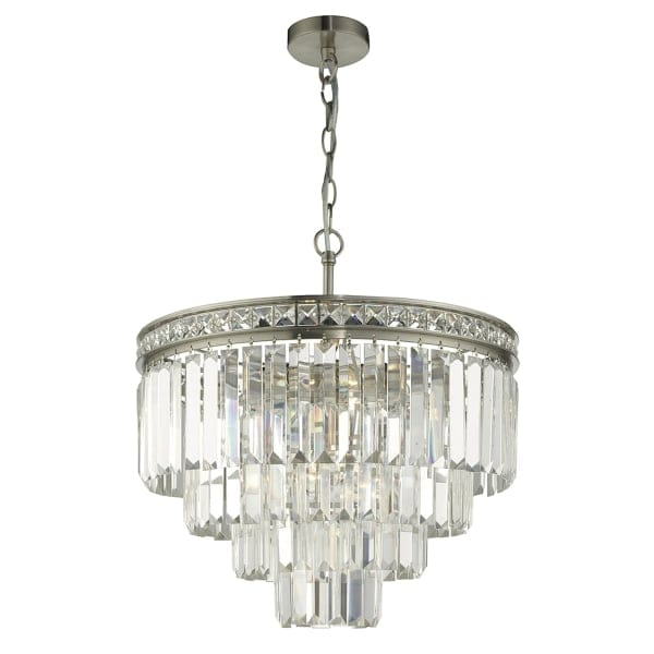 Trace Light Suspended Lights From Sklo: Classic Style Tiered Satin Nickel And Crystal Ceiling Pendant