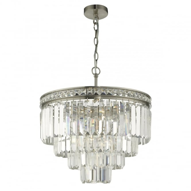 The Lighting Book VYANA 4 light tiered satin nickel and crystal ceiling pendant