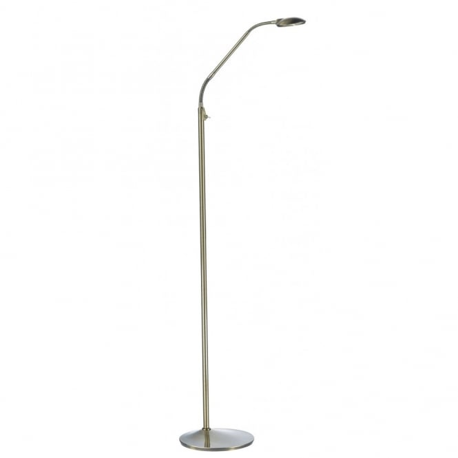 WELLINGTON contemporary antique brass LED floor lamp
