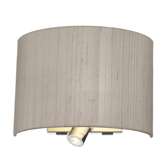 The Lighting Book WETZLAR polished chrome dual wall light with silk shade