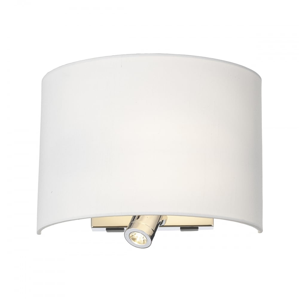 Modern Polished Chrome Wall Light With LED Reading Light