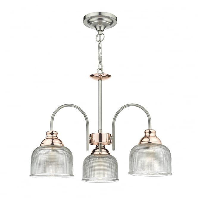The Lighting Book WHARFDALE 3 light pendant in satin chrome and copper with textured glass shades