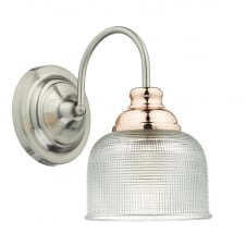 WHARFDALE satin chrome and copper wall light with prismatic glass shade