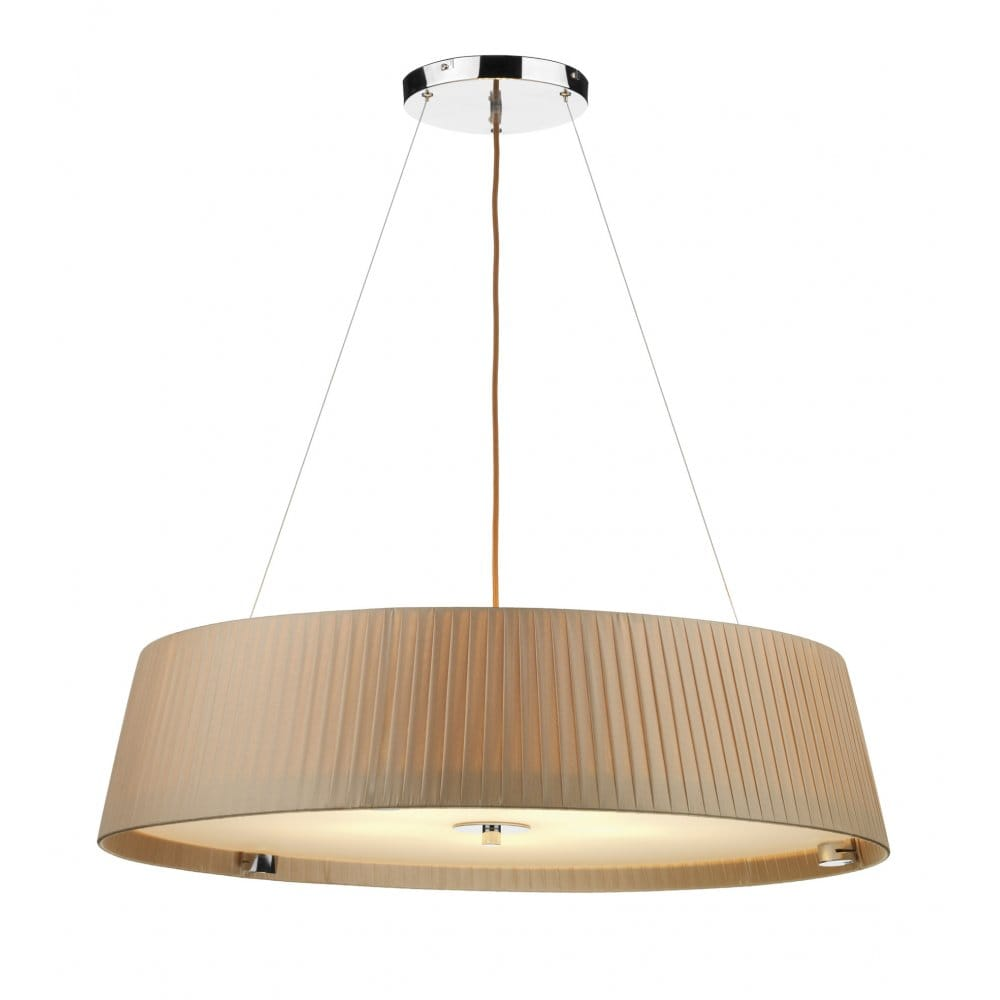 Wheel Taupe Ceiling Pendant Large Circular Drum Shape