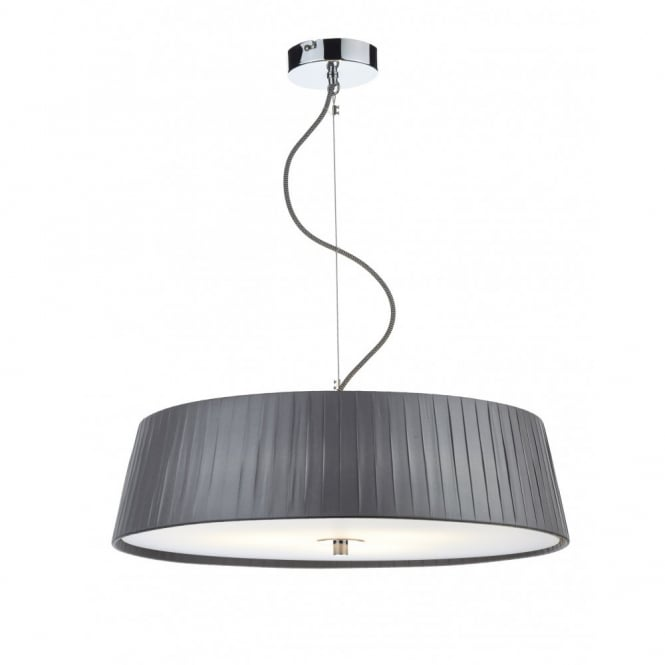 Ceiling Lights Grey : Modern ceiling pendant slimline wheel in pleated grey