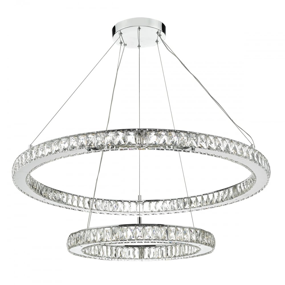 Decorative Two Tier Chrome And Crystal Led Rings Ceiling