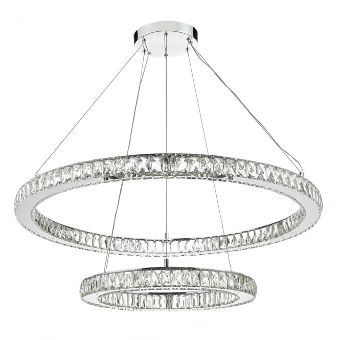 WONDER double tier crystal and chrome rings LED ceiling pendant