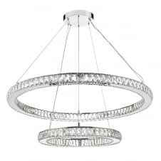 decorative chrome and crystal LED rings pendant
