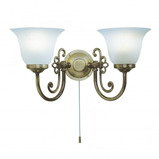 The Lighting Book WOODSTOCK wall light twin in light antique with pull switch