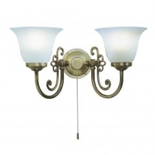 WOODSTOCK wall light twin in light antique with pull switch