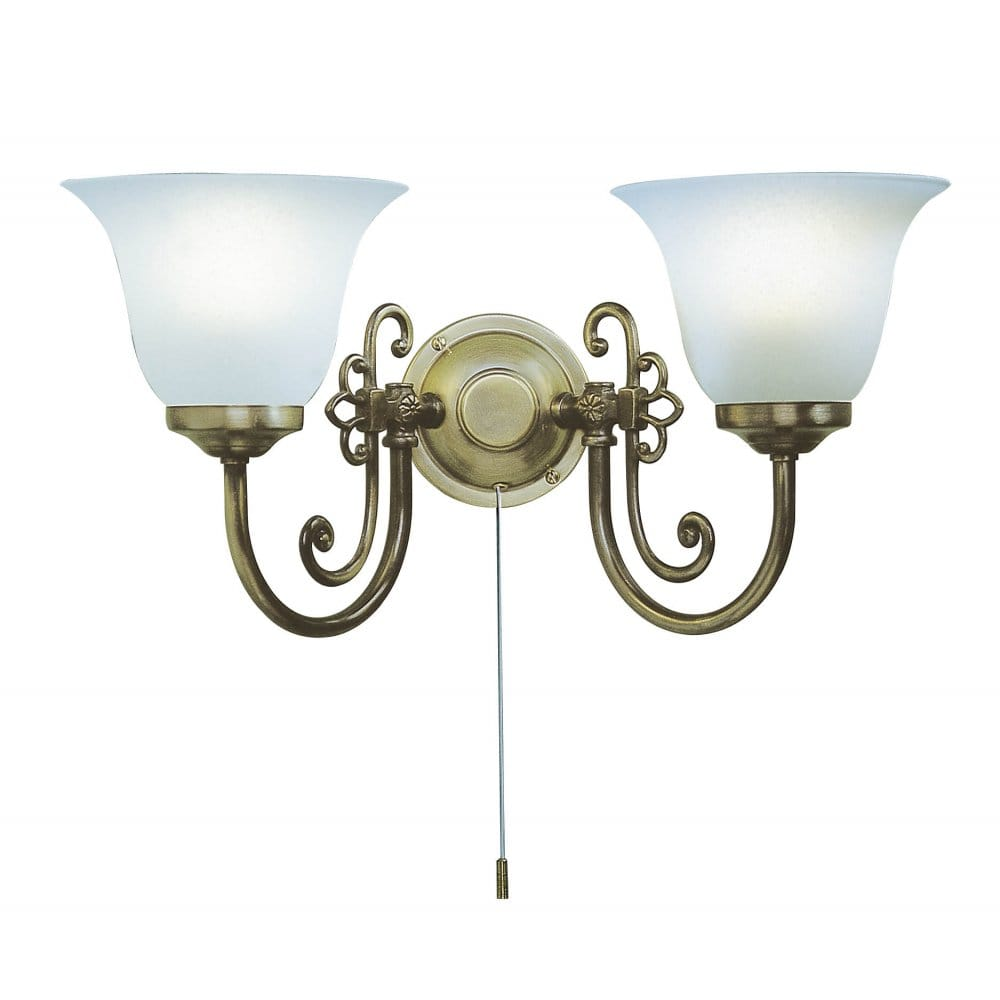 Traditional Switched Wall Lights : Double or Twin Light Antique Wall Light Scroll Detail & Scavo Shades