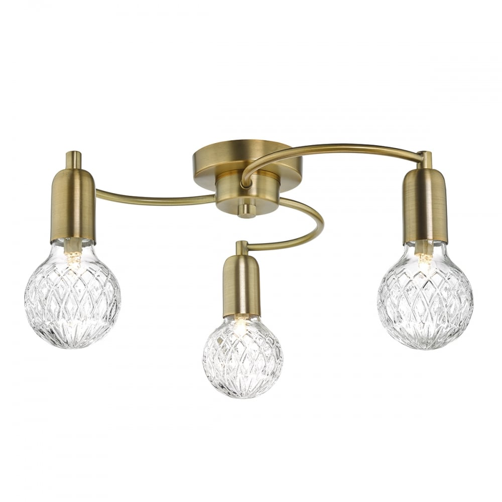 Antique Brass 3 Light Semi Flush Ceiling Light with Cut ...