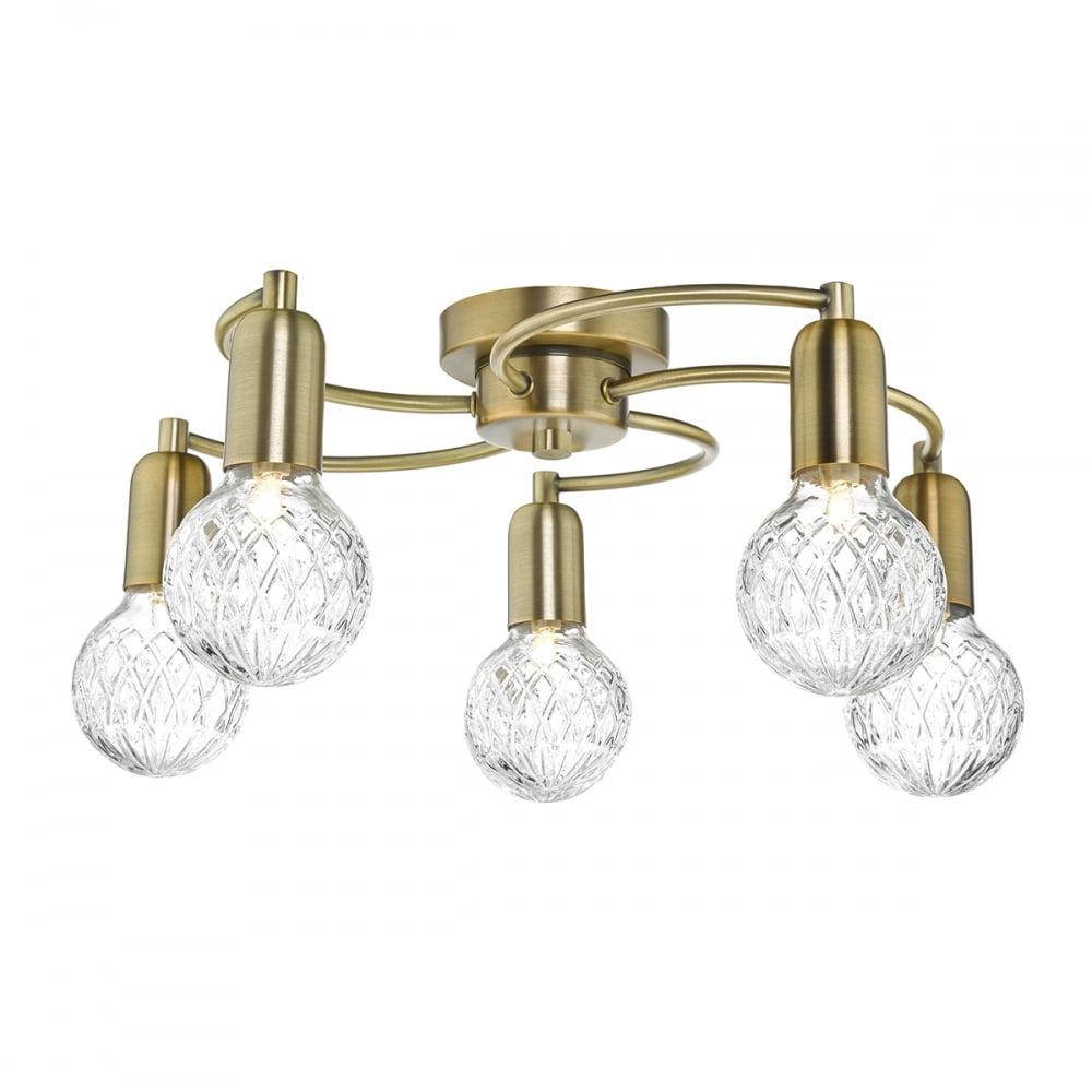 Contemporary soft antique brass ceiling light with cut glasses contemporary antique brass 5 light ceiling light with cut glass shades mozeypictures Gallery