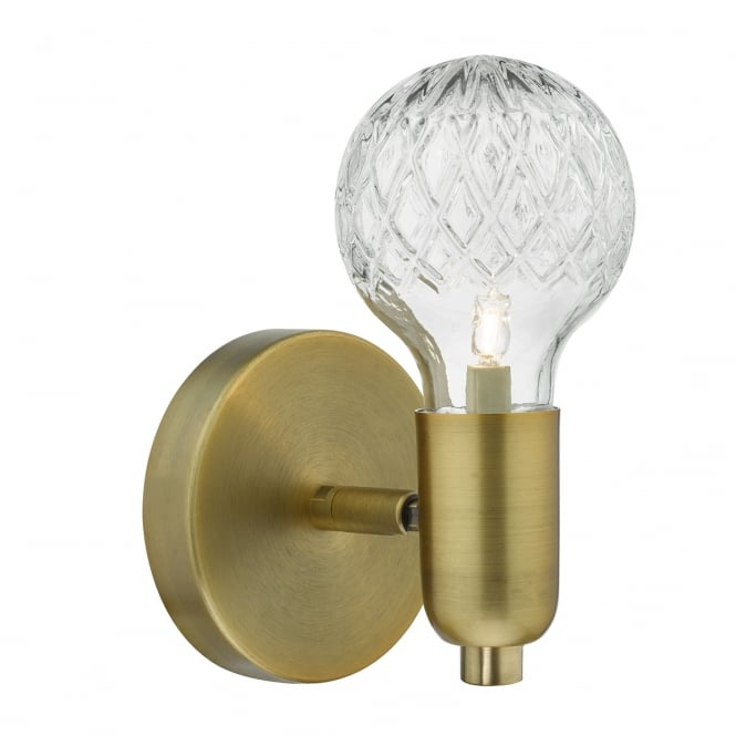 WREXHAM single antique brass wall light with cut crystal glass shade