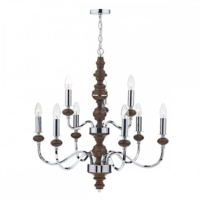 The Lighting Book WYATT 9lt pendant chandelier in a dark wood and polished chrome finish