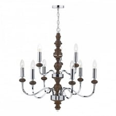Large double tier ceiling light fitting wood and chrome.