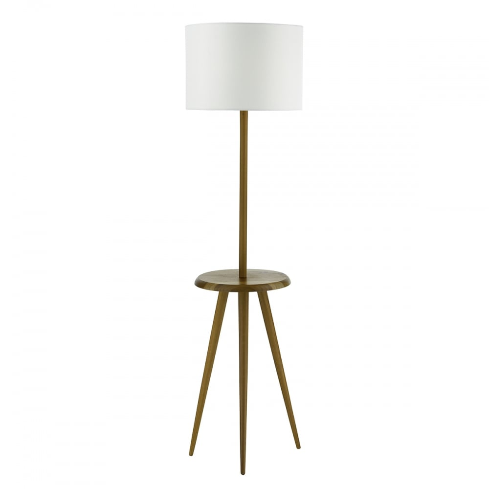 Wooden tripod style floor lamp with table rest and shade for Lamp wooden