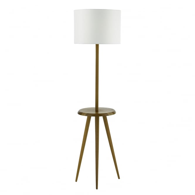 The Lighting Book WYCOMBE wooden floor lamp with rest and cotton shade