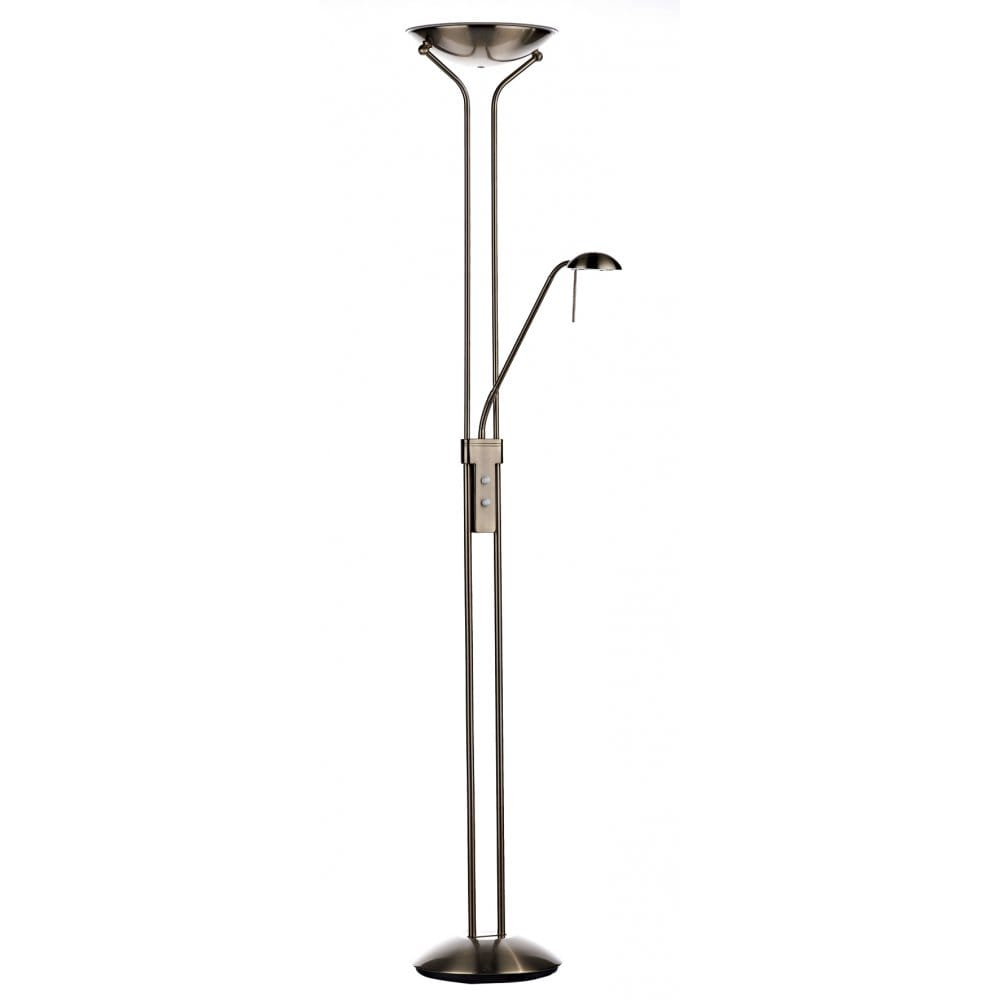 Wyoming mother and child led floor standing lamp with for Mother and child floor lamp antique brass