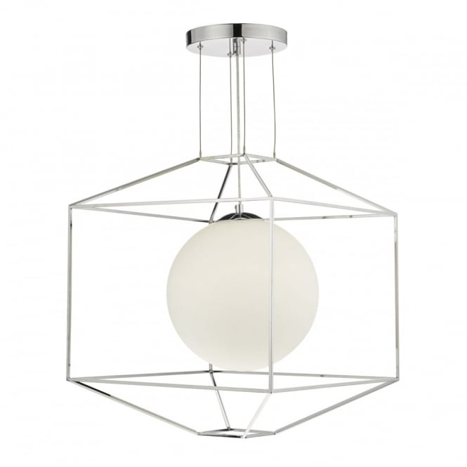 The Lighting Book YANNIS geometric polished chrome ceiling pendant with opal glass globe shade