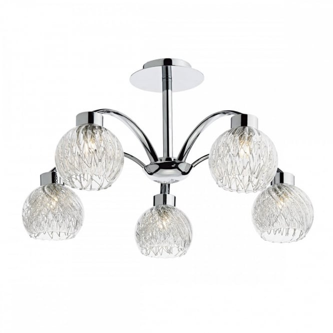 The Lighting Book YASMIN 5lt semi flush modern ceiling light in chrome with clear ribbed glass shades and mesh inners