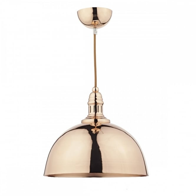 The Lighting Book YOKO vintage style ceiling pendant in a copper finish with decorative braided cable
