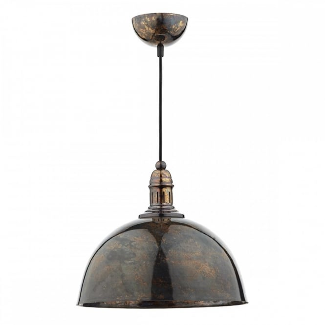 The Lighting Book YOKO vintage style ceiling pendant in a mottled bronze finish with decorative braided cable