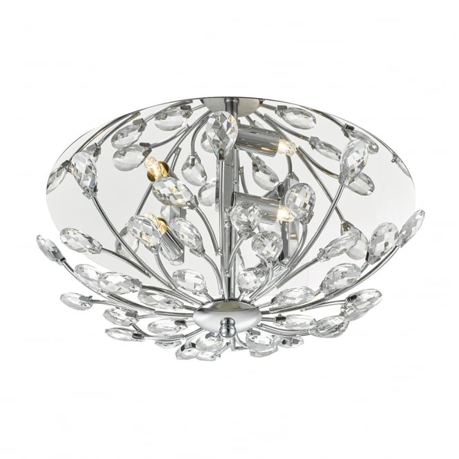The Lighting Book ZAFIR 3lt flush crystal floral ceiling light