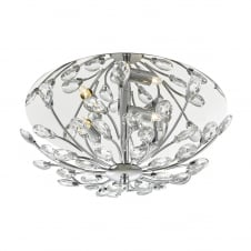 polished chrome and crystal flush floral ceiling light