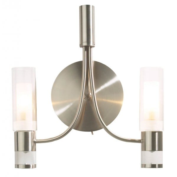 Modern Wall Lights Chrome : Modern Satin Chrome Double Wall Light with Glass Tube Shades