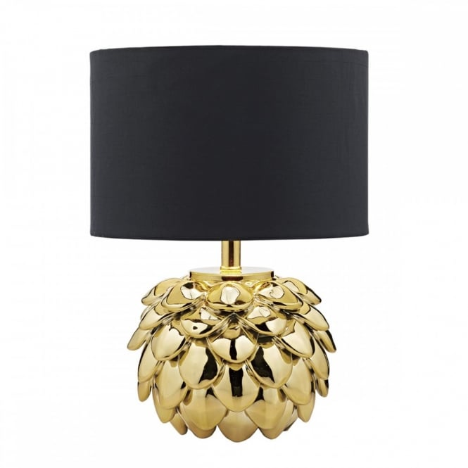 The Lighting Book ZANTE ceramic gold painted pine cone table lamp with black shade