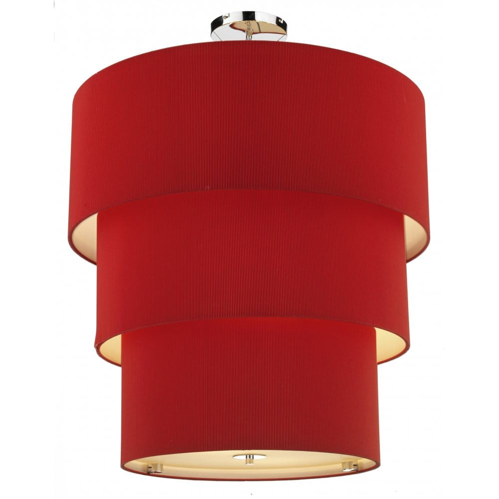 Large Circular Red Tiered Ceiling Pendant With A Long Drop