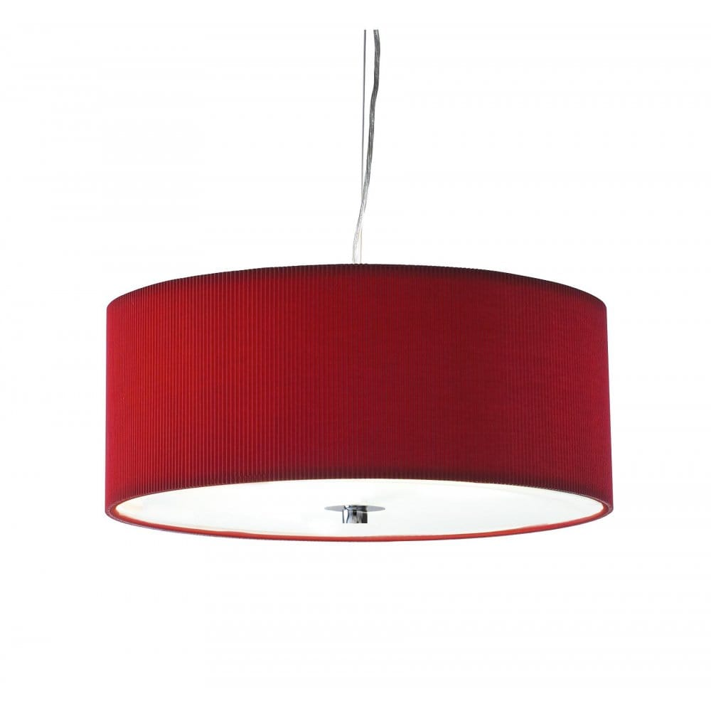 Drum Shaped Bright Red Ceiling Pendant Light For High Ceilings