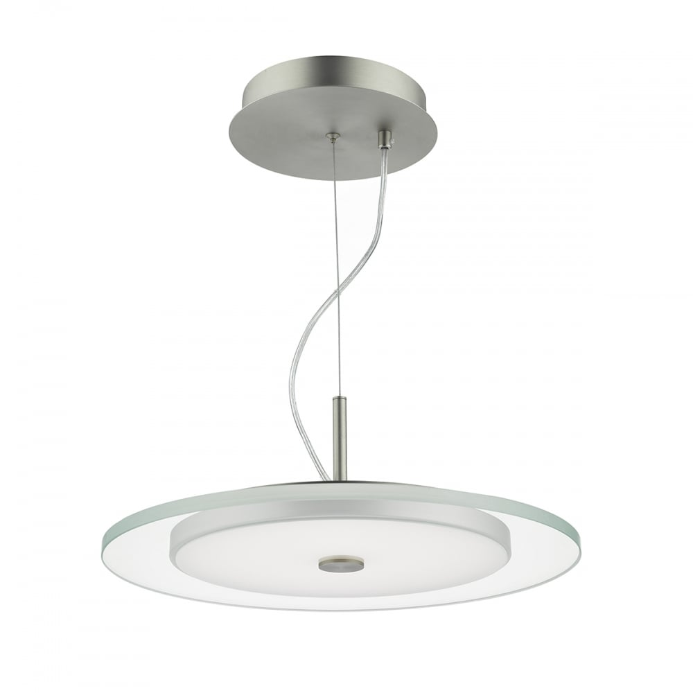 Contemporary Satin Nickel And Clear Glass Led Ceiling Pendant