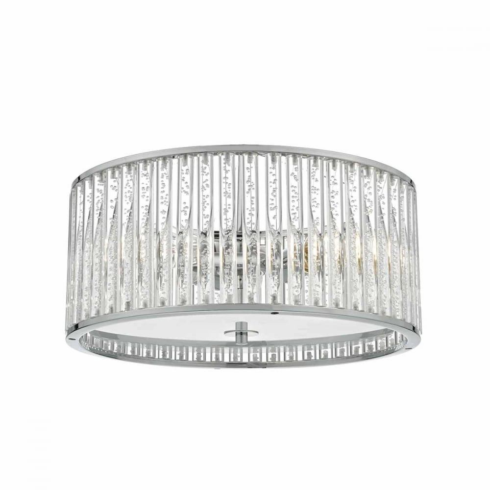 ZETO Decorative Chrome and Acrylic Rod Bathroom Ceiling Light