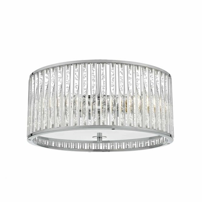 ZETO 4 light ceiling light in chrome with bubble rod glass