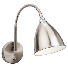 BARI modern brushed steel wall light