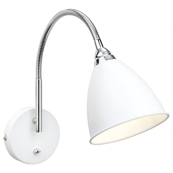 The Lighting Collection BARI modern polished chrome and white wall light
