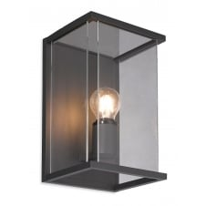 CARLTON outdoor box wall lantern in graphite with clear glass panels