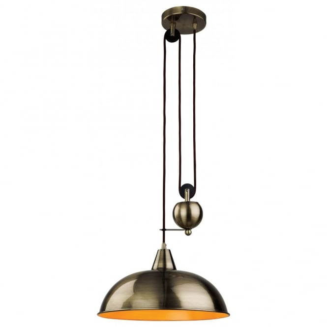 Industrial Rise And Fall Pendant Light: Retro Antique Brass Rise & Fall Ceiling Pendant