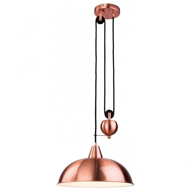 The Lighting Collection CENTURY rise and fall brushed copper ceiling pendant