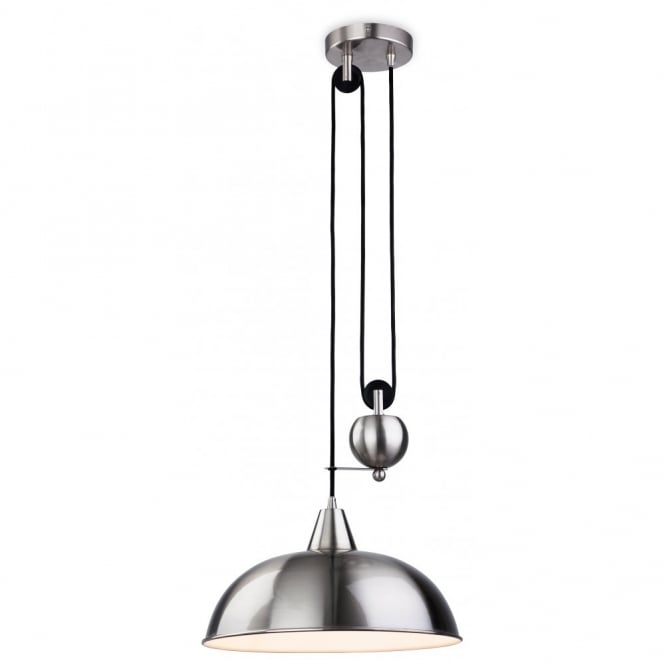 The Lighting Collection CENTURY rise and fall brushed steel ceiling pendant