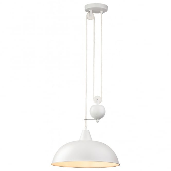 The Lighting Collection CENTURY rise and fall white ceiling pendant