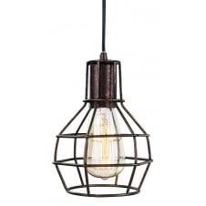 rustic brown cage ceiling pendant light