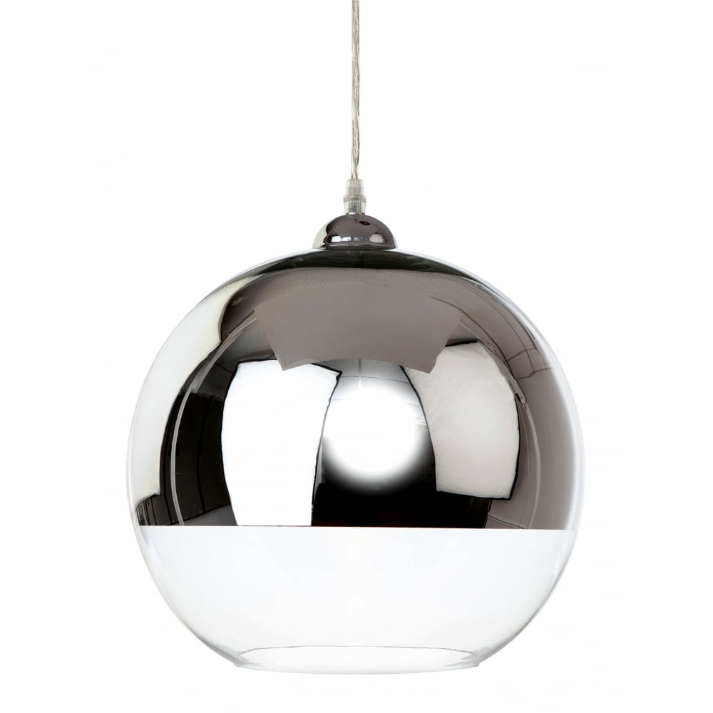 Clear glass and polished chrome globe ceiling pendant clear glass and polished chrome globe pendant mozeypictures Image collections