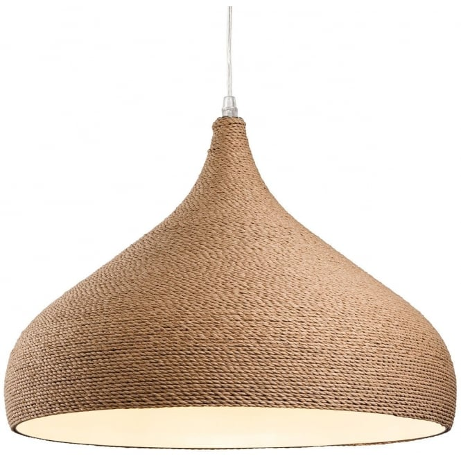 The Lighting Collection COAST brown rope wrapped ceiling pendant