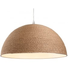 COAST brown rope wrapped dome ceiling pendant