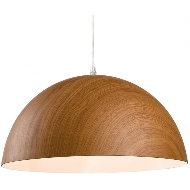 The Lighting Collection COAST wooden effect dome ceiling pendant